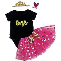 ESIINOY 4PCS Baby Girl 1st Glitter Birthday Tutu Outfit Newborn Party Dress