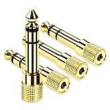 OTraki ステレオミニプラグ 6.3mm 3.5mm 変換 コネクタ [4個入り] 純銅 高音質 ステレオ標準プラグ プラグ 金メッキ端子 クリア 1 / 4インチ to 1 / 8インチ 接続 アダプタ