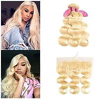 613 Blonde Bundles with Frontal Brazilian Virgin Hair Body Wave 3 Blonde Bundles with Frontal 613 Human Hair Body Wave Bundles with Frontal Can be Dyed Any Color (18 20 22+16 613#) [並行輸入品]