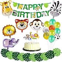 サファリジャングルテーマパーティー用品 - 6個入り アニマルホイルバルーン ラテックスバルーン グリーンヤシの葉 ハッピーバースデーバナー 動物ケーキトッパー サファリパーティー用品 男の子の誕生日ベビーシャワー装飾