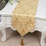 テーブルランナー ホームデコレーション 中国モダンシンプルスタイル 刺繍 工芸品 タッセル 長方形 エレガント (Color : Gold, Size : 33*300cm)