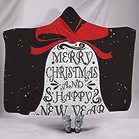 印刷 キルティングフリース 毛布, クリスマス パターン 柔らか 居心地の良い フード付きキャップ, 用 成人, こども-19-150×200cm