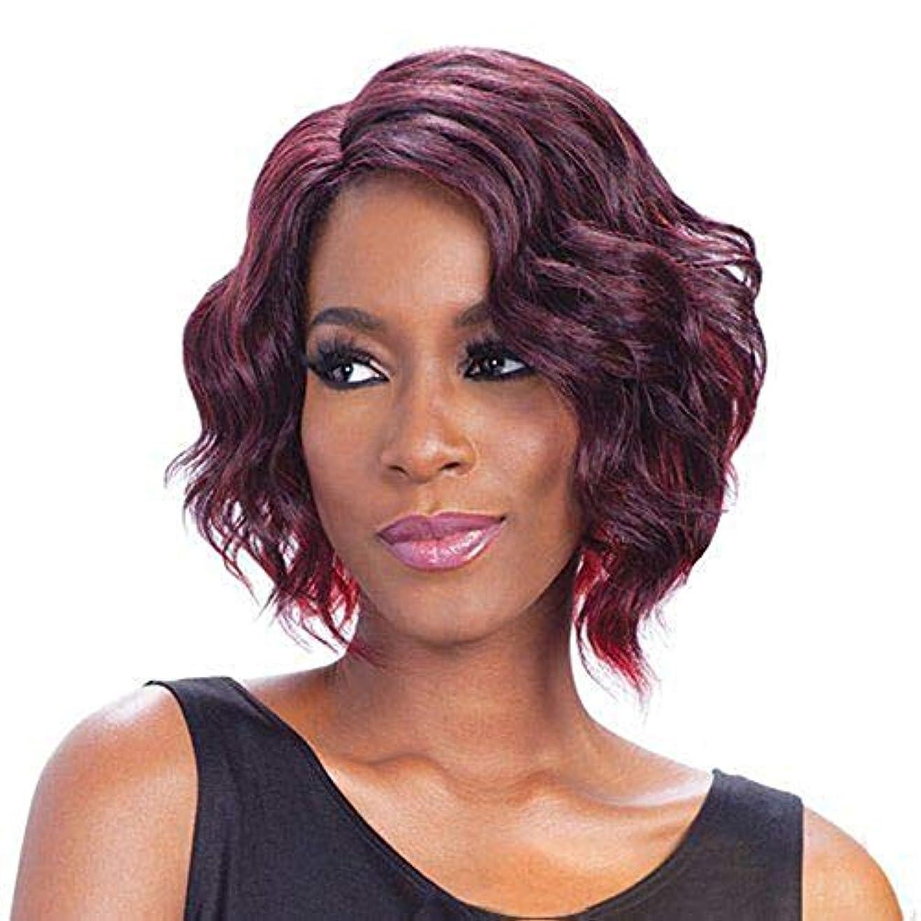本土思いつく放散するYOUQIU 無料キャップウィッグを持つ女性耐熱人工毛のための短いワインレッドカーリーボブウィッグ (色 : ワインレッド)
