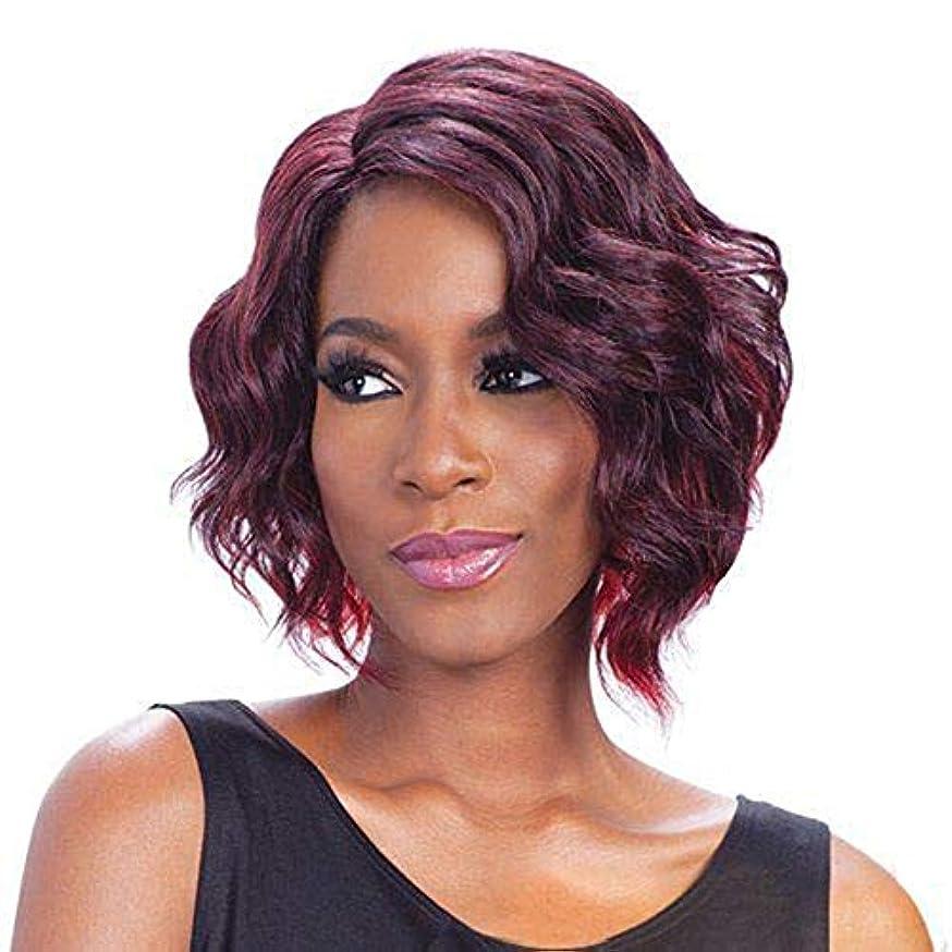悪性銀河理解するYOUQIU 無料キャップウィッグを持つ女性耐熱人工毛のための短いワインレッドカーリーボブウィッグ (色 : ワインレッド)