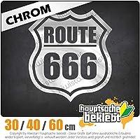 Route 666 - 3つのサイズで利用できます 15色 - ネオン+クロム! ステッカービニールオートバイ