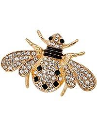 Hellery ラペルピン 虫型 ブローチ 昆虫型 ブローチピン 襟ピン ラインストーン エナメル かわいい