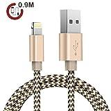 ライトニングケーブル(Zeuste®)高耐久ナイロンiphone6/iphone6 plus/iphone5/iphone5s/iphone5c/ipad/ipod対応のlightning usbケーブル(2色編み ブラック&ゴルード0.9M)