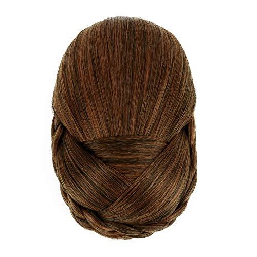 お団子 和装シニヨン つけ毛 編み込み ポイントウィッグ おだんごヘア フォーマル 髪飾り お茶会 (楕円形 チョコ色)