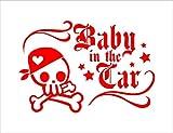 バンダナ スケルトン Baby in car 赤 カッティングステッカー ウォールステッカー