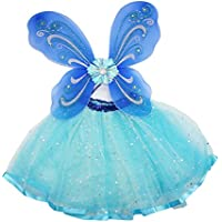 Tinksky Girls Fairy Princess Costume Set Butterfly Wing Fairy Tutu Skirt Set of 2