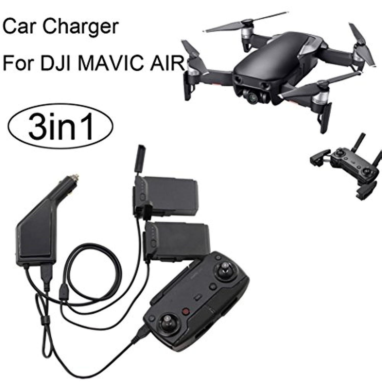 inverlee充電器DJI Mavic、3 in1車充電器アダプタfor DJI Mavic Airリモートコントロール&バッテリー充電ハブ ブラック IN