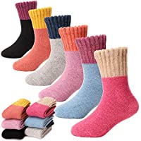 6 Pack Children Wool Socks For Boy Girl Kid Thick Thermal Warm Cotton Winter Crew Socks