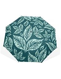 AOMOKI 折り畳み傘 折りたたみ傘 手開き 日傘 三つ折り 梅雨対策 晴雨兼用 UVカット 耐強風 8本骨 男女兼用 緑 葉