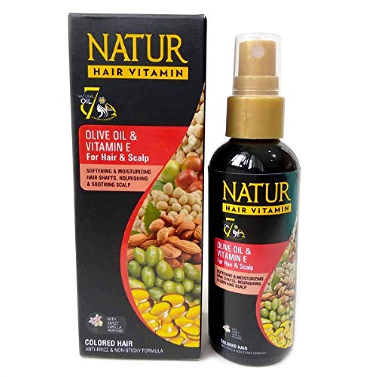 検閲スーパーアジャNATUR ナトゥール 天然植物エキス配合 Hair Vitamin ハーバルヘアビタミン 80ml Olive oil&Vitamin E オリーブオイル&ビタミンE [海外直商品]