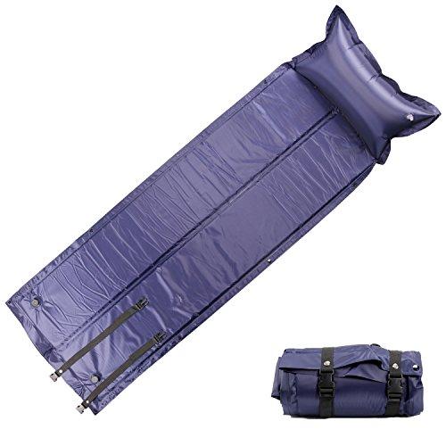 FSDUALWIN 自動膨張式 エアーマット キャンピングマット キャンプマット アウトドアマット エアマット エアピロー付き 連結可能 防水 コンパクト 軽量 収納 携帯に便利 高反発2.5cm 車中泊 寝具 テント オフィスでの休憩 紫色 緑色 迷彩 (紫, 186cm)