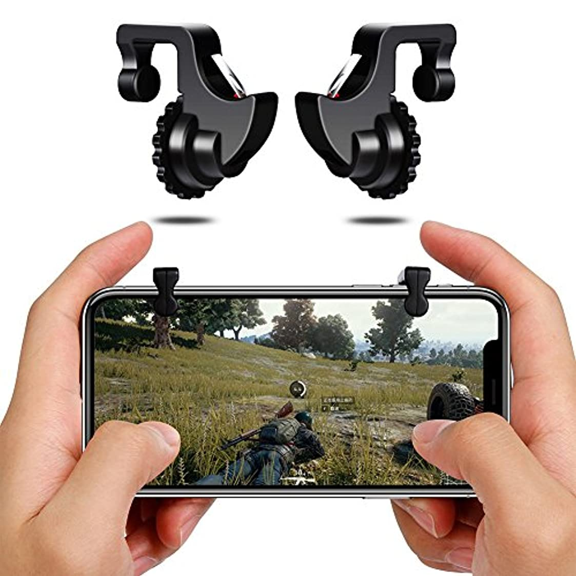 オーストラリア人柄デイジー荒野行動ゲームパッド ゲームコントローラー 射撃ボタン 押し式ゲームパッド高耐久ボタン 感応射撃ボタン 高速射撃 左右パッド iPhone/Android対応