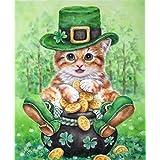 Diyの油絵子供のためのデジタル油絵大人初心者16x20インチ、かわいい子猫--クリスマスの装飾ホームインテリアギフト (フレーム)