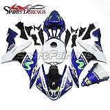Sportfairings バイク カウル 外装パーツセット 適合 ヤマハ Yamaha YZF1000 YZF-R1 R1 04 05 06 2004 2005 2006 年 青v緑 No.19 フルカウルセット