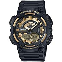 Casio Black And Gold Duo Chrono Aeq110Bw-9A Watch