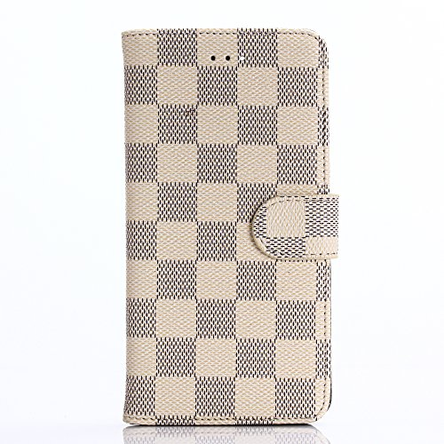 HUAZAI アップル iPhone7 ケース iPhone7カバー 4.7inch対応 アイフォン7 スマホケース レザーケース チェック柄 グリッド 手帳型 手帳ケース シンプル 上品 スロット付き スタンドでき リングスタンド贈り 「クリーム」
