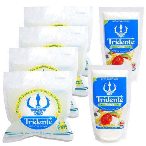 Tridente (トリデンテ) 飛騨高山産 モッツァレラチーズ・リコッタチーズ セット レシピ付き (モッツァレラ×4リコッタ×2)