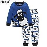Hooyi 羊男の子パジャマ綿100 %の子供たちはショーンのパジャマセット (130(7))