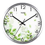 Hense Clocks(ハンセ)おしゃれ 北欧 シンプル アナログ 見易い 連続秒針 消音 電波 薄型 インテリア 壁掛け時計 HW40-01 緑色葉銀色