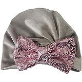 ベビー帽子、ベビー幼児かわいいスパンコール弓帽子メタリックカラーソフトヘッドカバー装飾幼児写真の小道具ヘアアクセサリー グレー
