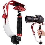AFUNTA カメラスタビライザー 着実 プロハンドヘルド 撮影安定化機材 最大荷重2.1lbs/0.95kg GoPro/キャノン/ニコン/ビデオカメラ/デジタル一眼レフカメラ/iphoneに対応 - 赤+シルバー+ブラック