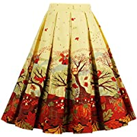 T-Crossworld Women's Vintage Flared High Waist A Line Pleated Midi Skirt Pockets