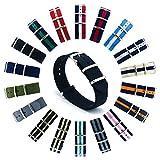 CIVO Natoストラップ Nato Strap 18mm 20mm 22mmプレミアムBallisticナイロン時計バンド Nylon Watch Band G10 時計ストラップ 簡単交換ベルト Watch Strap ステンレスバックル 取り替え工具付(一つのバネ棒外しと四つのサイズ近くのバネ棒を提供いたします) 交換マニュアル付 マルチカラー選択 (ブラック, 20mm)