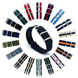 CIVO Natoストラップ Nato Strap 18mm 20mm 22mmプレミアムBallisticナイロン時計バンド Nylon Watch Band G10 時計ストラップ 簡単交換ベルト Watch Strap ステンレスバックル 取り替え工具付(一つのバネ棒外しと四つのサイズ近くのバネ棒を提供いたします) 交換マニュアル付 マルチカラー選択 (ブラック, 18mm)