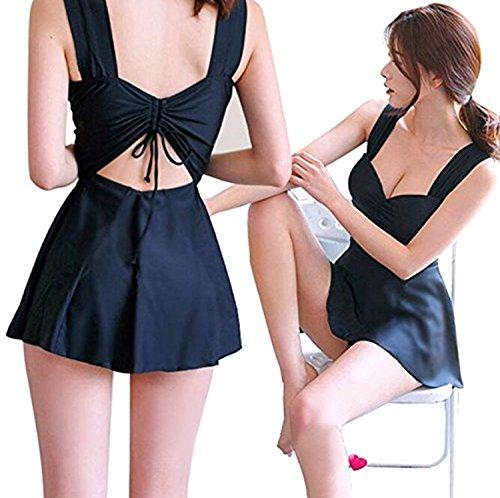[해외]JIEKERY 여성 수영복 체형 커버 원피스 반바지 2 종 세트 허리 슬림 키 中穴 아키 리본 세련된 블랙/JIEKERY Women`s Swimwear Body Cover One Piece Shorts 2 Piece West Slim Back Medium Hole Ribbon Fashionable Black