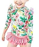 (ケイグラッソ) 子供 用 セパレート 水着 上下 3点 セット 花柄 長袖 フリル 女の子 キッズ uv ラッシュガード (M (90-100), ピンク)