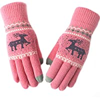 Women's Warm Knit Winter Knitting Touchscreen Thickening Outdoor Cycling Milu Deer Gloves Keep Warm