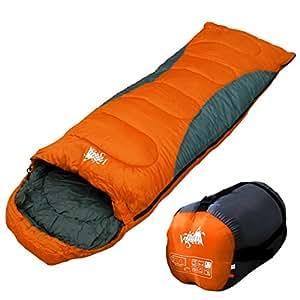 丸洗いOK White Seek 寝袋 シュラフ 封筒型 耐寒温度 -5℃ コンパクト収納 オールシーズン (オレンジ)