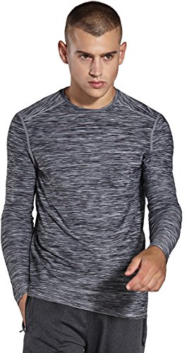 コンプレックス(KomPrexx) トレーニングウェア ロングスリーブシャツ メンズ ドライ クルーネック 長袖Tシャツ MC05T(Gray,M)