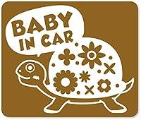 imoninn BABY in car ステッカー 【マグネットタイプ】 No.53 カメさん (ゴールドメタリック)