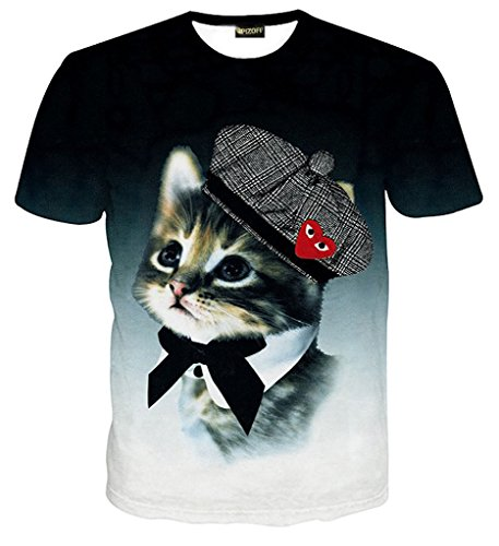 (ピゾフ)Pizoff メンズ Tシャツ 夏服 丸首 半袖 猫柄 3D立体 原宿系 おもしろ モード系 ストリート ヒップホップ ファション V系 快適 カジュアル 男女兼用 トップス Y1730-44-XL
