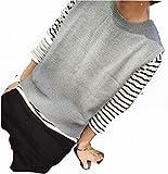 メンズ セータ Rネック カジュアル スリムタイプ ニットセータ ユース 細身 レジャー用 秋冬 暖かい 上品 綿95% (灰色)