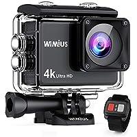 【進化版 タッチパネル 4K高画質】 WIMIUS アクションカメラ 高画素 wifi搭載 リモコン付き SONYセンサー 30M防水 バッテリー2個 充電器付き 170度広角レンズ ドライブレコーダーとして使用可能 スポーツカメラ ウェアラブルカメラ アタッチメント豊富 AI8000(ブラック)