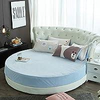 嘘だと分かったベルベット ラウンド ベッド ベッドスカート,ベッド シート ベッド カバー ラウンド シモンズ マットレス カバー コーラルベルベット 暖かいベッド スカート-H 直径180cm