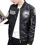 Gaosa 春 秋 冬 メンズ ファッション ジャケット ブルゾン ミリタリー 裏地付き カジュアル 防水 防風   (ブラック, L)