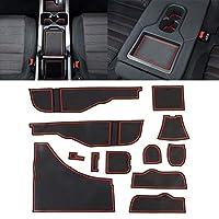カーボンファイバーバックミラーバンパートリム 車水カップゲートスロットマットメルセデスベンツGLA200のプラスチック製の赤い滑り止め内部ドアパッド、簡単にインストール