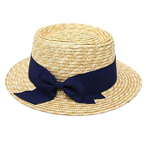 [可愛さ倍増] ストローハット ハット 帽子 カンカン帽 麦わら帽子 リボン付き 紫外線 UVケア (Marib select) レディース ぼうし #870 (ネイビー)