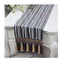 テーブルランナー 表ランナー、ドレッサースカーフを持つマルチタッセル、ストライプシェニール織物、マルチサイズ (Color : Silver gray, Size : 33x200cm)