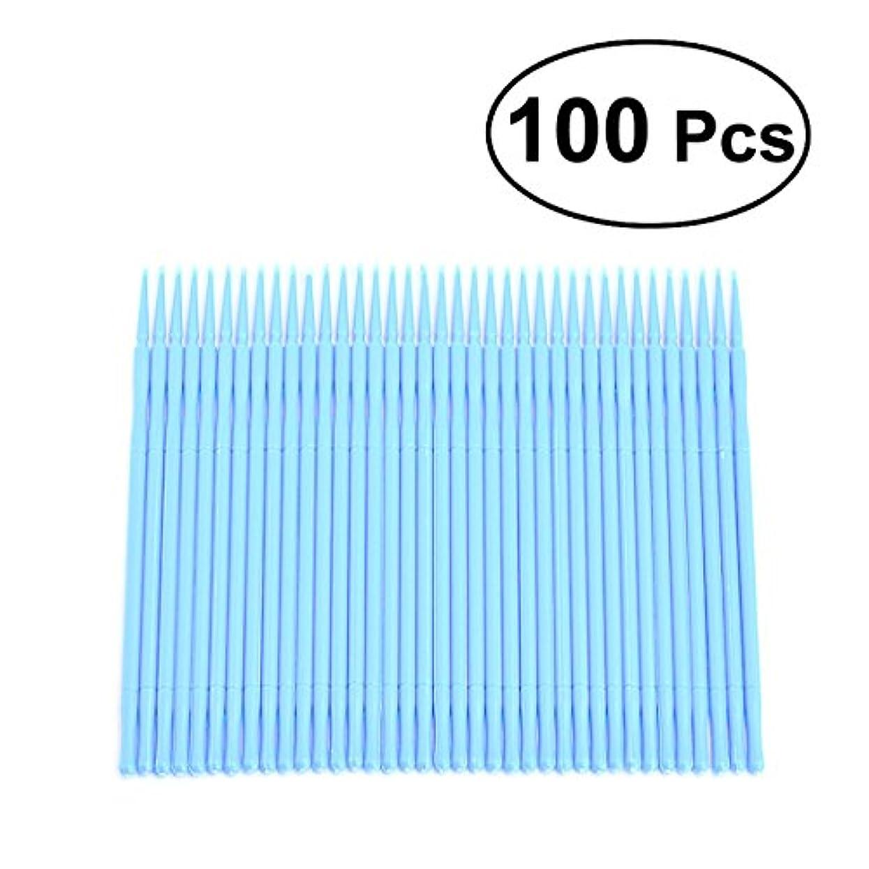 一貫性のない細心の強風ROSENICE コットンスワブ100個使い捨てアプリケーターブラシまつげエクステンションまつげブラシ(スカイブルー)