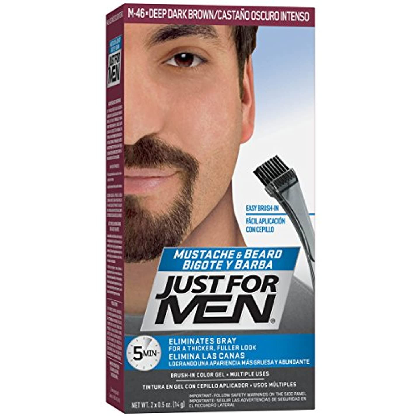 家禽半径ブレスJust for Men 口ひげ&髭ブラシ-のカラージェル、ディープダークブラウン(梱包が変更になる場合があります)