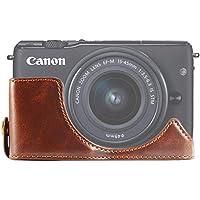 FIRST2SAVVV ダークブラウン キヤノン Canon EOS-M10. EOS M10 M100 専用 PU 半分レザー レフ カメラバッグ カメラケース XJD-EOSM10-D10
