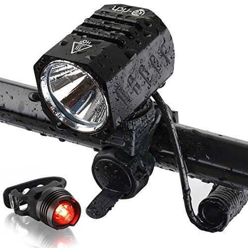 Te-Rich 自転車ライト 1200ルーメン LEDヘッドライト機能搭載 超高輝度 4モード(3段階の光度+ストロボ) 充電式バッテリー USB接続タイプCREE XM-L2 アウトドア専用 IPX6防水 防災